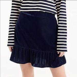J. Crew Velvet Mini Skirt NWOT